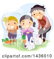 Clipart Of A Man Teaching Girls About Rabbits Royalty Free Vector Illustration