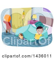 Clipart Of Children Playing Hide And Go Seek Royalty Free Vector Illustration
