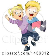 Clipart Of A Happy Blond White Boy Carrying His Sister Royalty Free Vector Illustration