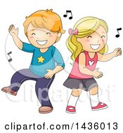 Caucasian Boy And Girl Dancing To Music