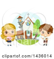 Clipart Of Children Holding Bibles By A Church Royalty Free Vector Illustration