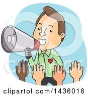 Cartoon Brunette Caucaian Man Using A Megaphone To Call On Volunteers