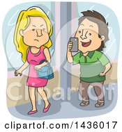 Clipart Of A Cartoon Caucasian Man Annoying A Beautiful Woman By Taking A Picture Of Her With His Phone Royalty Free Vector Illustration