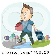 Clipart Of A Cartoon Sad Brunette White Man Moving To A City From A Rural Area Royalty Free Vector Illustration by BNP Design Studio