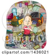 Clipart Of A Cartoon Satisfied Brunette White Man Surrounded By Junk That He Has Collected Royalty Free Vector Illustration