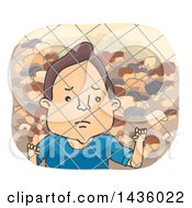 Clipart Of A Sad Male Refugee Looking Through A Fence Royalty Free Vector Illustration