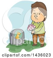 Clipart Of A Cartoon Sad Brunette Caucasian Man Visiting His Pet Dogs Grave Royalty Free Vector Illustration