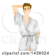 Clipart Of A Handsome White Male Model Posing In A Bath Robe Royalty Free Vector Illustration