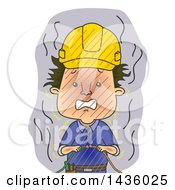 Clipart Of A Cartoon Male Electrician Getting Shocked By A Live Wire Royalty Free Vector Illustration by BNP Design Studio
