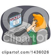 Clipart Of A Cartoon Frustrated Red Haired White Man Grabbing His Hair In Front Of A Hacked Computer Royalty Free Vector Illustration
