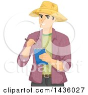 Clipart Of A Happy Male Farmer Wearing A Straw Hat And Taking Notes Royalty Free Vector Illustration