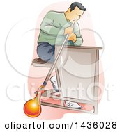 Clipart Of A Male Glass Blower Worker Royalty Free Vector Illustration by BNP Design Studio