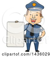 Clipart Of A Cartoon Happy Brunette White Male Police Officer Holding A Blank Sign Royalty Free Vector Illustration