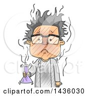 Clipart Of A Cartoon Male Scientist After A Failed Experiment Royalty Free Vector Illustration