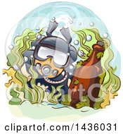 Clipart Of A Male Scuba Diver With An Antique Bottle Royalty Free Vector Illustration