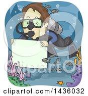 Cartoon Brunette Male Scuba Diver Holding A Blank Sign