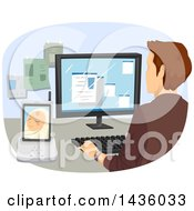 Clipart Of A Rear View Of A Working Father At His Office Computer A Baby Monitor At His Side Royalty Free Vector Illustration