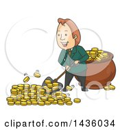Clipart Of A Cartoon Wealthy White Business Man Shoveling Gold Coins Into A Pot Royalty Free Vector Illustration by BNP Design Studio