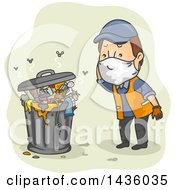 Clipart Of A Cartoon Brunette White Male Garbage Collector Looking At Stinky Trash Royalty Free Vector Illustration
