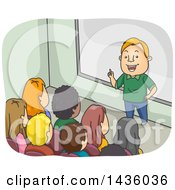 Poster, Art Print Of Cartoon White Male Professor Or Teacher In Front Of A College Class