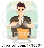 Clipart Of A Male Divorce Mediator And Fighting Couple Royalty Free Vector Illustration