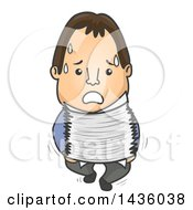 Cartoon Brunette White Male Worker Carrying Papers And Sweating