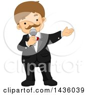 Clipart Of A Cartoon White Male Program Presenter Holding A Microphone Royalty Free Vector Illustration