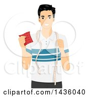 Clipart Of A Happy Man Holding A Piece Of Fabric And Measuring Tape Royalty Free Vector Illustration
