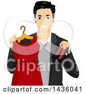 Clipart Of A Happy Male Stylist Holding A Red Dress And High Heels Royalty Free Vector Illustration
