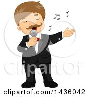 Clipart Of A Male Singer Performing In A Tuxedo Royalty Free Vector Illustration by BNP Design Studio