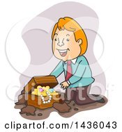 Clipart Of A Cartoon Happy Red Haired White Business Man Kneeling By A Treasure Chest Royalty Free Vector Illustration by BNP Design Studio