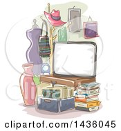 Clipart Of A Sketched Board In A Room With Items For Sale Royalty Free Vector Illustration
