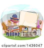 Clipart Of A Sketched Yard Sale Sign With Items By A Fence Royalty Free Vector Illustration