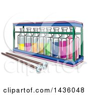 Clipart Of A Sketched Xylophone Made From Rows Of Glass Bottles And A Pair Of Wooden Sticks Royalty Free Vector Illustration