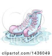 Clipart Of A Sketched Pair Of Ice Skates Royalty Free Vector Illustration by BNP Design Studio