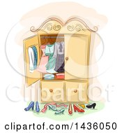 Clipart Of A Sketched Antique Wardrobe Cabinet With Clothing And Shoes Royalty Free Vector Illustration