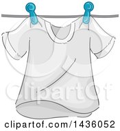 Clipart Of A White Tee Shirt On A Clothes Line Royalty Free Vector Illustration