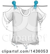 Clipart Of A Soaking Wet White Tee Shirt On A Clothes Line Royalty Free Vector Illustration
