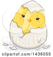 Poster, Art Print Of Cute Yellow Chick Hatching From An Egg
