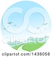 Clipart Of A Mountainous Landscape With Migrating Birds In A Circle Royalty Free Vector Illustration