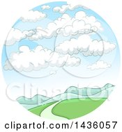Clipart Of A Mountainous Landscape With Clouds In A Circle Royalty Free Vector Illustration