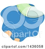 Clipart Of A Mans Feet In Water Near An Inner Tube Royalty Free Vector Illustration
