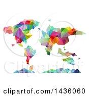 Poster, Art Print Of Colorful Geometric World Map Atlas