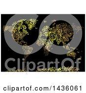 Poster, Art Print Of Beautiful Golden Swirl Vines World Map On Black