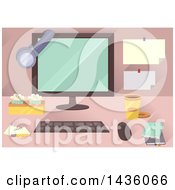 Clipart Of A Desktop Computer With Snacks And Accessories Royalty Free Vector Illustration