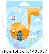 Clipart Of A Music Note House In A Sky Royalty Free Vector Illustration by BNP Design Studio