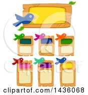 Clipart Of Colorful Birds And Wood Boards Royalty Free Vector Illustration by BNP Design Studio