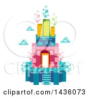 Clipart Of A Floating Island Made Of Pixels Royalty Free Vector Illustration