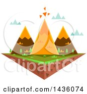 Clipart Of A Floating Island With Triangular Mountains Royalty Free Vector Illustration