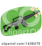 Clipart Of An Assault Rifle In Grass With Flowers Royalty Free Vector Illustration